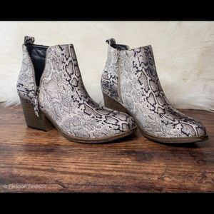New Snakeskin Booties with Zipper Detail
